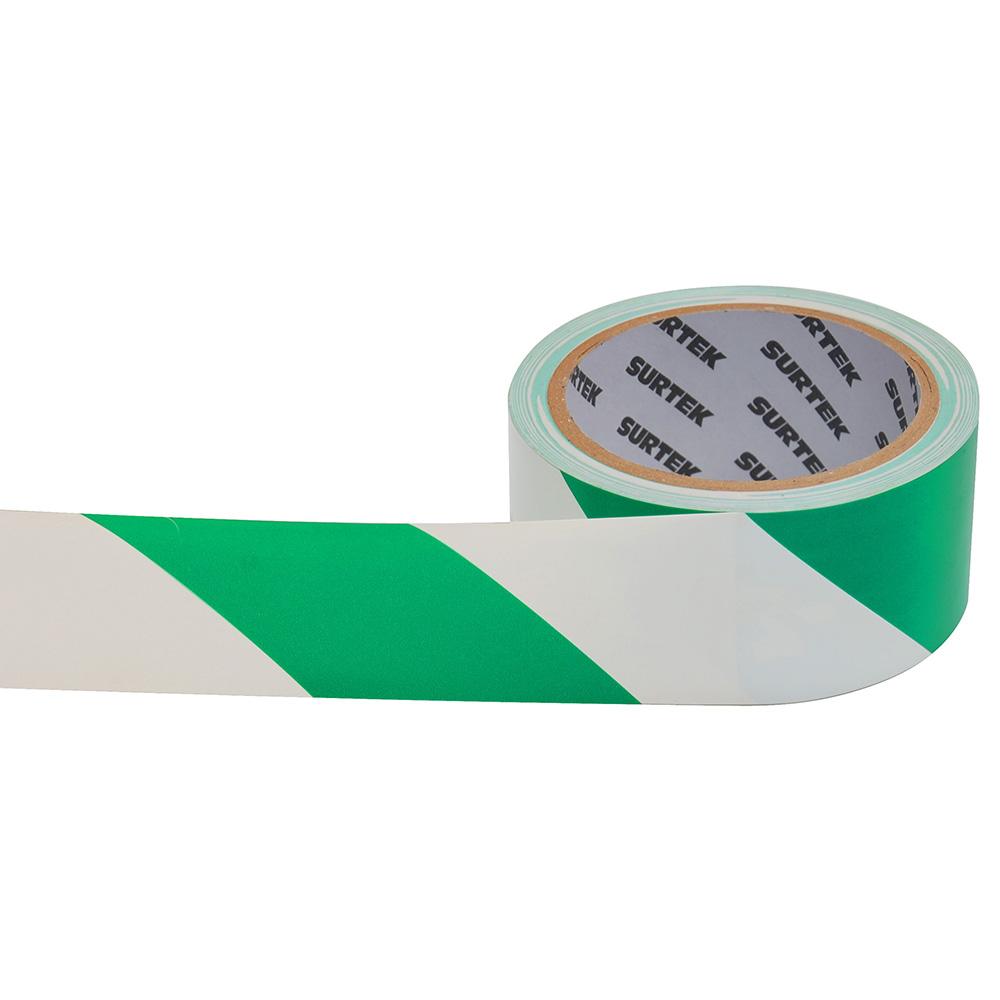 Imagen para Cinta de señalización verde y blanco 18 mt de Grupo Urrea